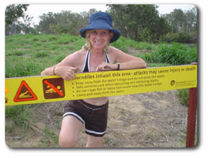 Sign warning of crocodiles at Calliope River rest area